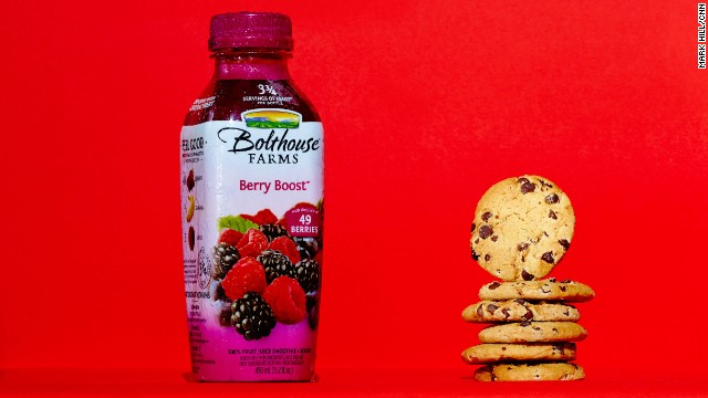 Juice smoothie: Bolthouse Farms Berry Boost. You'd consume 24 grams of sugar by drinking this Bolthouse Farms Berry Boost 15.2-ounce bottle -- or by eating six Chips Ahoy! cookies.