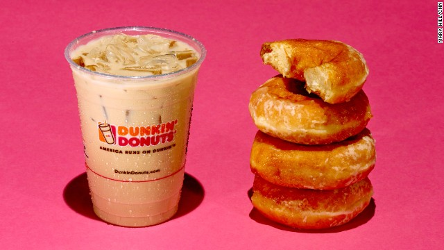 Iced coffee: Dunkin Donuts Iced Caramel Latte. A 16-ounce Dunkin Donuts Iced Caramel Latte has 37 grams of sugar. Each Krispy Kreme donut has about 11 grams of sugar.