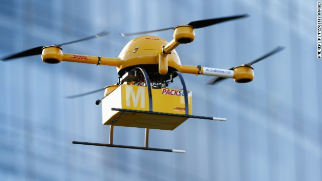 A drone delivers medicine from a nearby pharmacy to the Deutsche Post headquarters in Bonn, Germany, on December 9, 2013. The company was testing the viability of using drones to deliver small packages over short distances. Online retailer Amazon has also <a href='http://www.cnn.com/2013/12/02/tech/innovation/amazon-drones-questions/index.html'>announced plans</a> to start using unmanned flying vehicles.