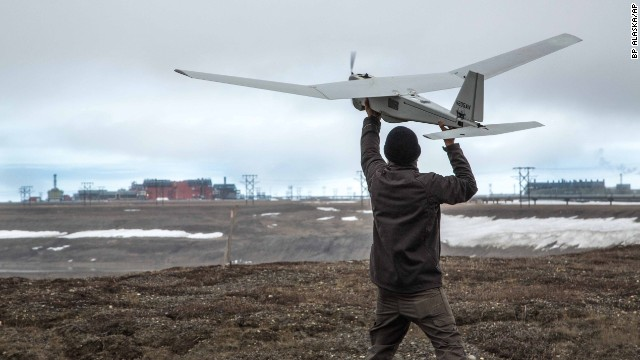 An AeroVironment Puma drone undergoes pre-flight tests in Prudhoe Bay, Alaska, on Saturday, June 7. The drone will be used to survey roads, pipelines and other equipment at the largest oil field in the United States. The Federal Aviation Administration has authorized BP to conduct the <a href='http://www.cnn.com/2014/06/10/us/faa-commercial-drone-approval/index.html'>first-ever commercial drone flights</a> over land, the latest effort by the FAA to show that it is loosening restrictions on unmanned aerial vehicles.