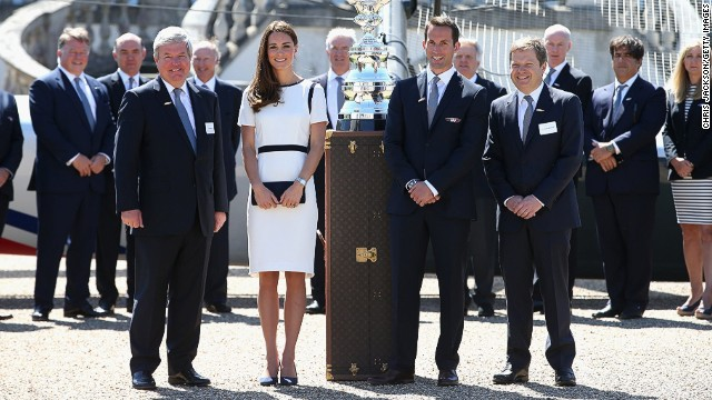Are these the people to bring the America's Cup back to Britain for the first time in history? The Duchess of Cambridge, Kate Middleton, helped launch Britain's £80 million ($134 million) challenge, beside sailing star Ben Ainslie (center right).