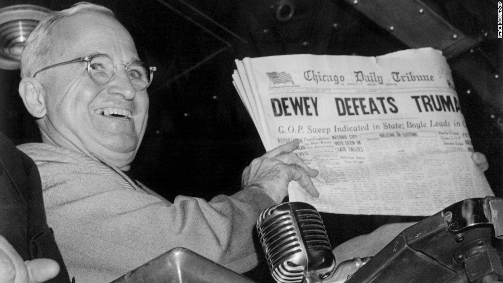 Dave Brat's upset primary victory over House Majority Leader Eric Cantor in Virginia joins a long list of political table turning at the polls. The most famous was in 1948 when Democratic President Harry Truman won the election <!-- --> </br>over Republican Thomas Dewey. The Chicago Daily Tribune initially called the race for the New York governor. Click for more political upsets.
