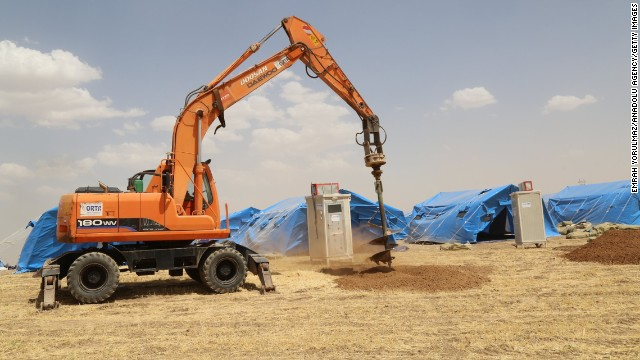Construction begins on refugee camps in Erbil on June 11.