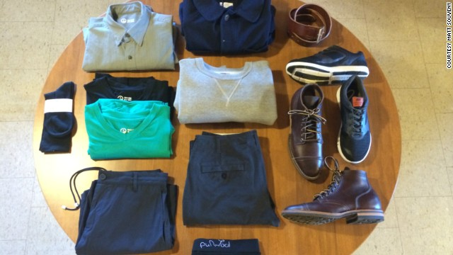 Matt Souveny has <a href='http://www.thisstylishlife.com/' target='_blank'>pared down his closet</a> to 10 items for the next year, excluding socks, underwear and outerwear. Most of his wardrobe comes from American clothing company Outlier and other brands that specialize in performance gear.