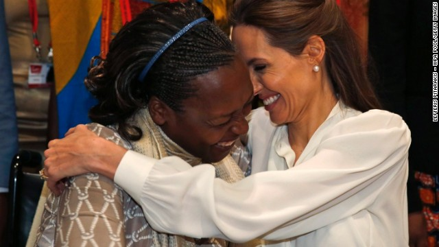 JUNE 12 - LONDON, ENGLAND: Neema Namadamu from the Democratic Republic of Congo hugs Angelina Jolie, Hollywood star and special envoy for the U.N. High Commissioner for Refugees, at<a href='http://edition.cnn.com/video/?/video/world/2014/06/11/angelina-jolie-william-hague-christiane-amanpour-sexual-violence-conflict.cnn&hpt=hp_t4&from_homepage=yes&video_referrer=http%3A%2F%2Fedition.cnn.com%2F'> London's 'End Sexual Violence in Conflict' summit</a>. Namadamu formed an organization that uses digital media to empower women demanding peace in eastern Congo after her own 25-year old daughter was attacked.