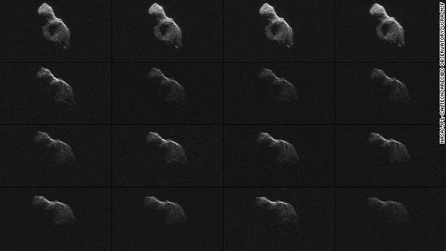 "NASA scientists used Earth-based radar to produce these sharp views of the asteroid designated ""2014 HQ124"" on Sunday, June 8."
