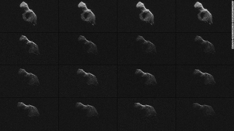 "NASA scientists used Earth-based radar to produce these sharp views of the asteroid designated<a href='http://www.nasa.gov/jpl/asteroid/giant-telescopes-pair-up-to-image-near-earth-asteroid/index.html#.U5nrgii4SEK' target='_blank'> ""2014 HQ124""</a> on Sunday, June 8."