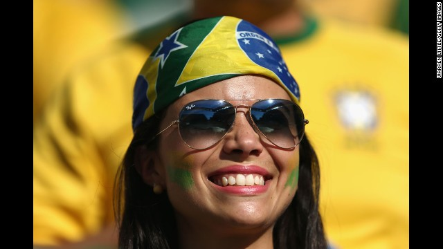 A Brazil fan smiles in Sao Paulo.
