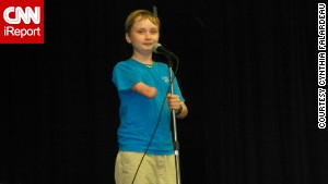 The author\'s son Wyatt takes the stage.