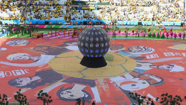 A happiness flag is seen in the Sao Paulo stadium during the opening ceremony.