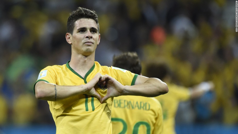 Brazilian midfielder Oscar celebrates with a heart gesture after he <a href='http://www.cnn.com/2014/06/12/football/gallery/world-cup-goals/index.html'>scored a goal</a> to give his team a 3-1 win over Croatia in the opening match of the World Cup on Thursday, June 12. It was the first day of the international soccer tournament, which is being held in 12 cities across Brazil.