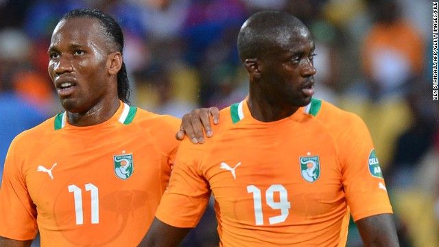 Like Eto'o, Ivory Coast stars Didier Drogba (L) and Yaya Toure had a less than memorable World Cup in South Africa four years ago.
