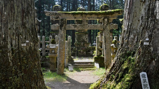 The walk to Kobo Daishi's mausoleum is filled with more than 200,000 gravestones, monuments and memorials (no bodies are buried here), all sharing space with moss-covered Shinto torii gates and thick forest.