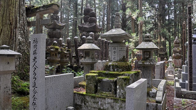The Okunoin graveyard has monuments to historic figures, war heroes, royalty, business leaders, children and even pets. Devotees can add their own memorial to the site for a fee.