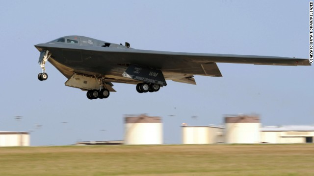 The Spirit of Ohio, a B-2 bomber, takes off from Whiteman Air Force Base in Missouri. Two B-2s were deployed to England in June.
