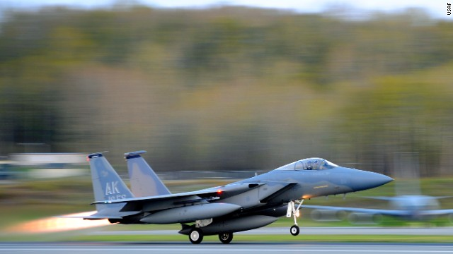 An F-15 Eagle from the 19th Fighter Squadron takes off at Joint Base Elmendorf-Richardson in Alaska. F-15 fighters intercepted Russian bombers off California this month.