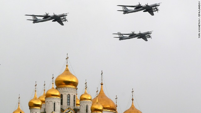 Russian Air Force Tu-95 bombers fly over Moscow's Red Square on May 7.