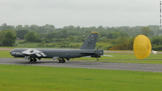 A B-52 lands at an airbase in England on June 4. The B-52 was one of three to arrive.