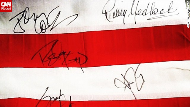 Members of the rock band <a href='http://ireport.cnn.com/docs/DOC-913772'>Lynyrd Skynyrd</a> signed memorabilia after their performance at the Heroes Red, White, and Blue Inaugural Ball in 2013. Johnny Colt, the band's bassist, shared this photo from the concert, which was a tribute to veterans of American armed forces.