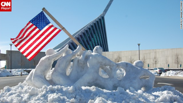<a href='http://ireport.cnn.com/docs/DOC-1085440'>Angie McCrary </a>photographed this life-size snow sculpture of troops raising a flag at Iwo Jima in Triangle, Virginia, on February 14. The sculpture was created by two Marines, Tim Lewis and Derek Reynolds, for the National Museum of the Marine Corps.