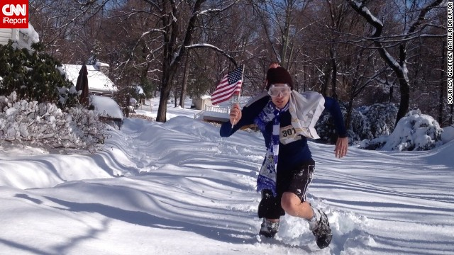 After shoveling 8 inches of snow in February 2014, <a href='http://ireport.cnn.com/docs/DOC-1085409'>Geoffrey Arthur Drewyor</a> decided to create a parody version of the Sochi Winter Olympics with an obstacle course around his home in Cortlandt Manor, New York. The challenges included running through piles of snow while trying to capture an American flag.