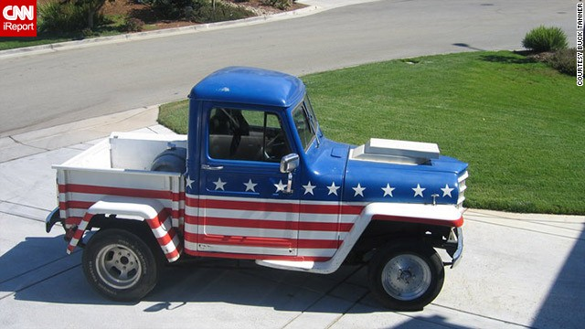 Sales engineer <a href='http://ireport.cnn.com/docs/DOC-1143046'>Buck Tanner</a> inherited this 1950 stars and stripes Jeep from his father in 2005. The truck gets a lot of salutes when Tanner drives it, and has been in a couple of July 4th parades in his hometown of Morgan Hill, California