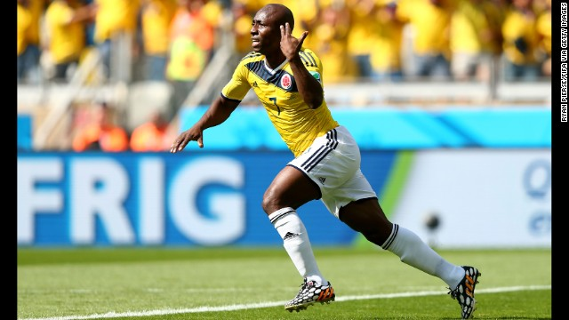 Armero's deflected shot put Colombia