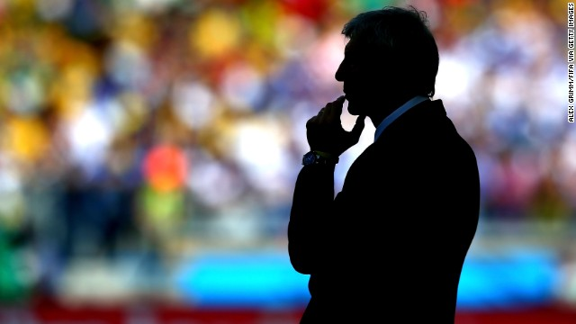 Colombia coach Jose Pekerman looks on during the Group C match.