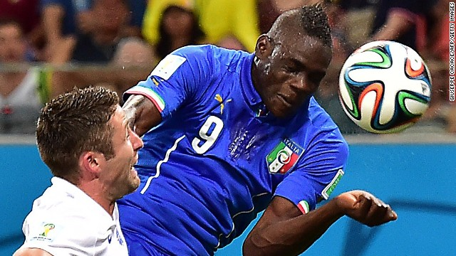 Balotelli scored the winning goal when Italy defeated England 2-1 at the World Cup in Brazil.