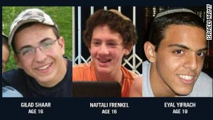 The slain Israeli teens, from left, are Gilad Shaar, Naftali Frenkel and Eyal Yifrach.