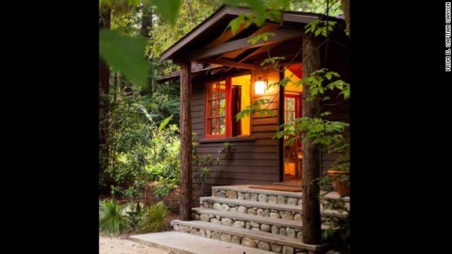 The lodge rooms, cabins and cottages at Glen Oaks in Big Sur all feature heated floors and rustic chic décor.