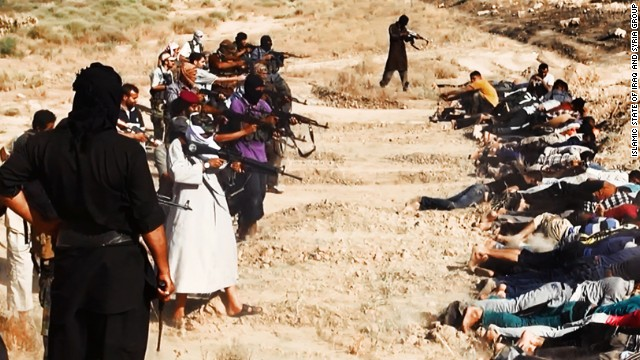 Members of ISIS prepare to execute some soldiers from Iraq's security forces in this image, one of many reportedly posted by the militant group online. CNN cannot independently confirm the authenticity of the images.