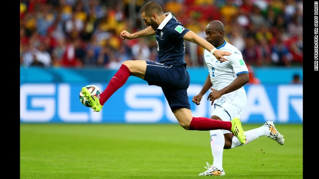 Karim Benzema of France shoots toward the goal, which led to an own goal by Honduras goalkeeper Noel Valladares.