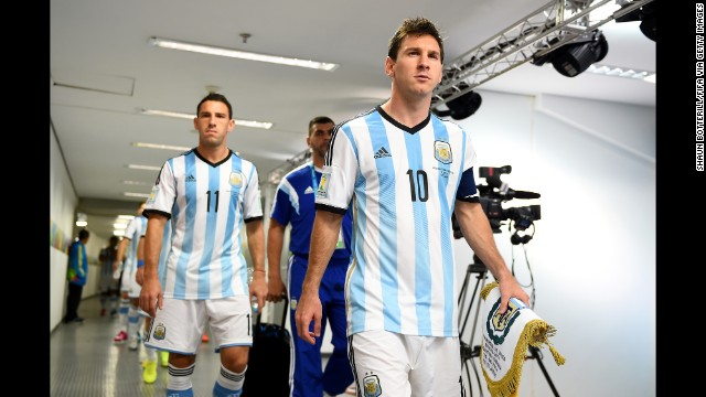 Argentina captain Lionel Messi prepares to lead the team out.
