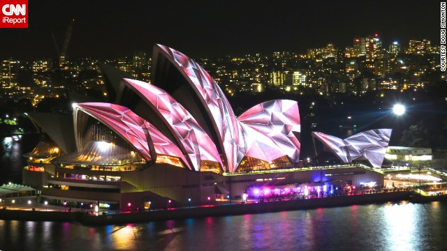 <a href='http://ireport.cnn.com/docs/DOC-1141065'>Doug Simonton</a> took this photo during his first trip to Australia this year. The Sydney Opera House is illuminated each night during Vivid Sydney, an annual event filled with lights, music and ideas.