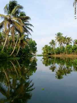 It looks peaceful now. But wait until one of Kerala's municipal passenger boats roars through.