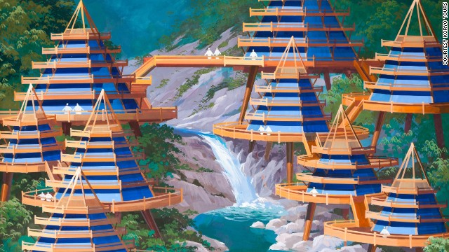 Architects from North Korea were asked to design buildings with no constraints on cost or possibilities. Here, a designer envisions a cluster of villas overlooking a waterfall in the Mount Kumgang region.