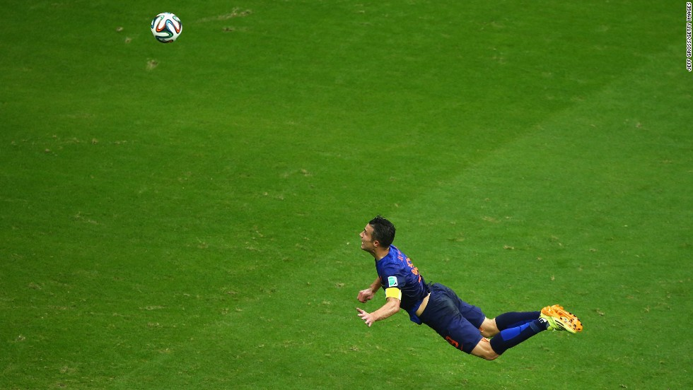 Robin Van Persie's spectacular diving header was the Netherlands' first goal in a 5-1 World Cup victory over Spain on Friday, June 13. Van Persie scored two goals in the match, which was played in Salvador, Brazil. <a href='http://www.cnn.com/2014/06/12/football/gallery/world-cup-goals/index.html'>See all the goals scored in the World Cup</a>