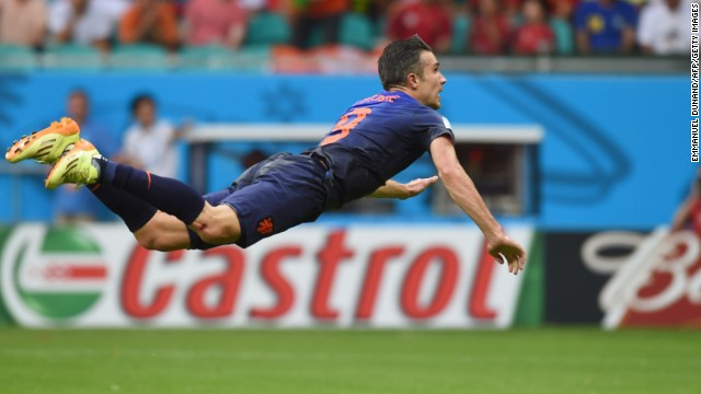"Robin van Persie's acrobatic header against world champions Spain has sparked a new craze -- ""Persieing."""