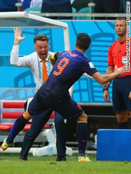 Van Persie's goal certainly seemed to meet the approval of Dutch coach Louis van Gaal, judging by his celebration.