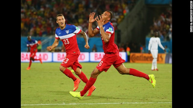 Americans John Brooks, right, and Fabian Johnson celebrate after Brooks scored the game-winning goal in the 86th minute.