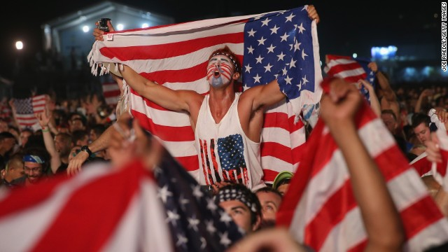 American fans celebrate on Rio de Janeiro's Copacabana beach after the United States beat Ghana 2-1 in a World Cup match Monday, June 16, in Natal, Brazil. Today is the fifth day of the soccer tournament, which is being held in 12 cities across Brazil. See yesterday's best photos