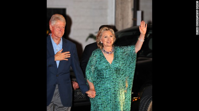 Former first lady and Secretary of State Hillary Clinton ditched the pantsuits for a caftan for daughter Chelsea's pre-wedding party in 2010.