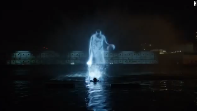 Using hydrotechnics and mist-based holographic projections, a 40-foot hologram of Carmelo Anthony was created in the Hudson River.