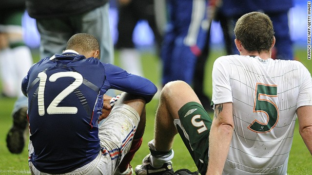 Thierry Henry sank Irish hopes of reaching the World Cup in Maradona-esque style. The striker handled the ball in the buildup to William Gallas' goal in a 1-1 second-leg draw in Paris, earning France a 2-1 aggregate playoff win and a place at the 2010 World Cup.