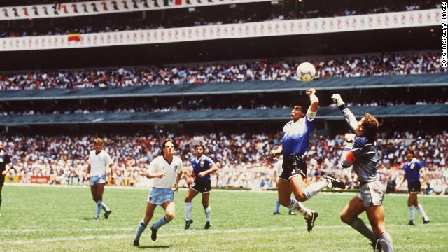 Maradona's quick thinking handy work sent Argentina into the World Cup semifinals in a 2-1 win over England.