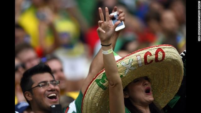 Mexico fans cheer in Fortaleza.