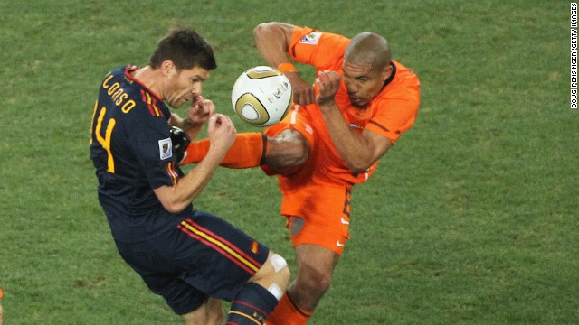Four years later another British referee Howard Webb had his work cut out during the 2010 World Cup final between Spain and the Netherlands. He famously did not send off Nigel De Jong for this challenge on Xabi Alonso in a game which saw a record four red cards and 16 yellows. Spain won the match 1-0 courtesy of an extra-time goal from Andres Iniesta.