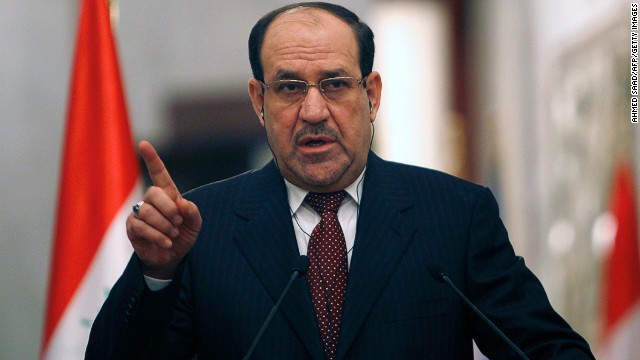 Iraqi Prime Minister Nuri al-Maliki gives a joint press conference with United Nations Secretary-General Ban Ki-Moon (unseen) in Baghdad about the situation in Iraq and Syrian on January 13, 2014 during the latter's two day visit to Iraq.