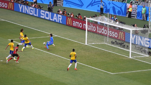 Ochoa makes another save. Both Brazil and Mexico now have a win and a draw through two games played at this World Cup.